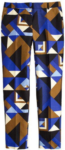 J Crew Collection Cropped Pant in Cubist Print