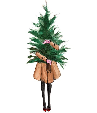 Inslee_Christmas Illustration_Girl holding tree