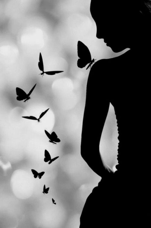 girl with butterflies #2 - black and white photo